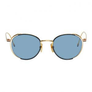 Thom Browne Gold and Navy TB-106 Sunglasses