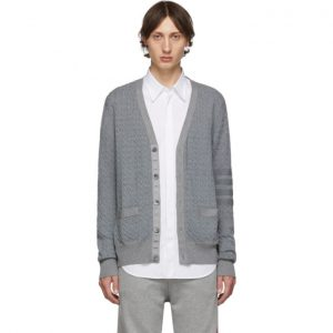 Thom Browne Grey Baby Cable Knit V-Neck Cardigan