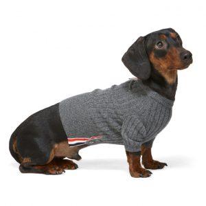 Thom Browne Grey Cashmere 4-Bar Rib Knit Dog Sweater