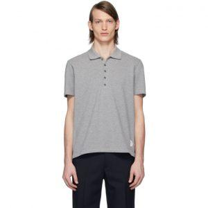 Thom Browne Grey Center-Back Stripe Polo