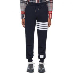 Thom Browne Navy 4-Bar Half and Half Lounge Pants