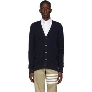 Thom Browne Navy Baby Cable Knit V-Neck Cardigan