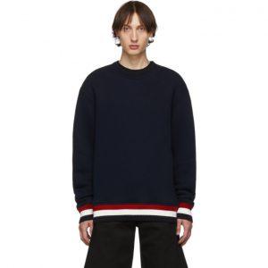 Thom Browne Navy Chunky Pullover Loopback Sweatshirt