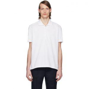 Thom Browne White Center-Back Stripe Polo