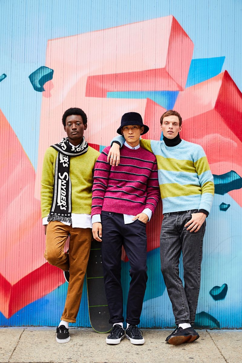 Standing out in bold colors, models Youssouf Bamba, InHyuk Yeo, and Rocky Harwood wear Todd Snyder.