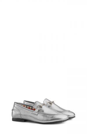 Toddler Gucci Jordaan Bit Loafer, Size 12US / 29EU - Metallic