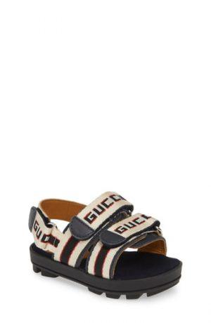Toddler Gucci Sam Logo Strap Slingback Sandal, Size 11US / 28EU - Blue