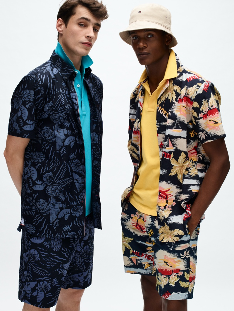 Models Adrien Sahores and O'Shea Robertson don tropical prints from Tommy Hilfiger's spring-summer 2020 collection.