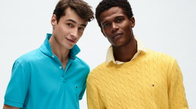 Donning preppy style, Adrien Sahores and O'Shea Robertson rock colorful looks from Tommy Hilfiger's spring-summer 2020 collection.
