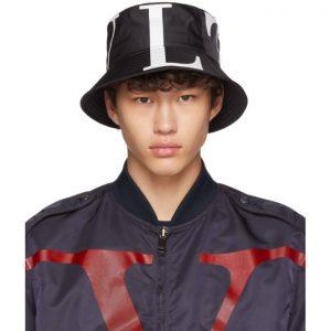 Valentino Black Valentino Garavani VLTN Bucket Hat