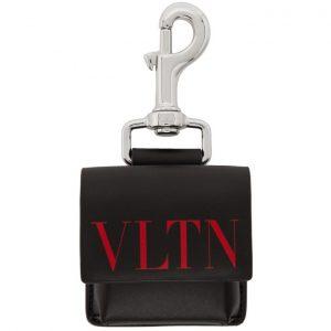 Valentino Black and Red Valentino Garavani VLTN Pouch Keychain