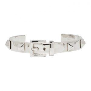 Valentino Silver Valentino Garavani Buckle Studs Cuff Bracelet