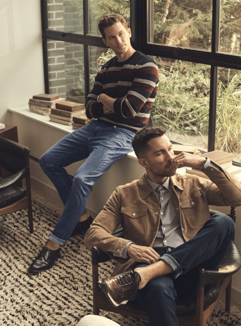 Pictured left, Adam Senn wears 34 Heritage's cool denim jeans. Meanwhile, Tobias Sorensen rocks the brand's Charisma jeans.
