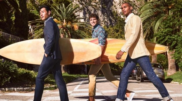 Grabbing their boards, Yusuke Ogasawara, Giacomo Cavalli, and Sacha M'Baye appear in Atelier Munro's spring-summer 2020 campaign.