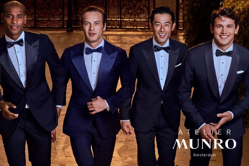 Dressed to the nines, Sacha M'Baye, Jules Raynal, Yusuke Ogasawara, and Giacomo Cavalli star in Atelier Munro's spring-summer 2020 campaign.