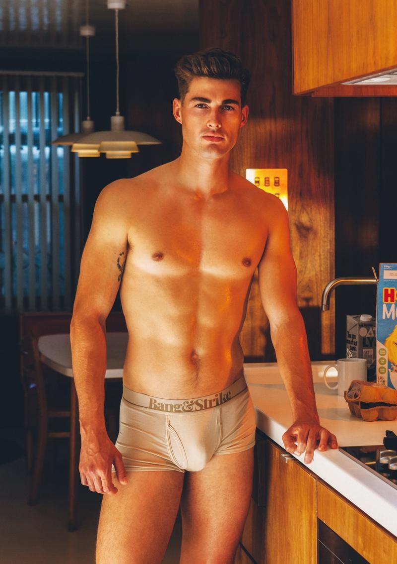 Model Kieran Warner rocks a pair of Bang & Strike micro modal underwear.