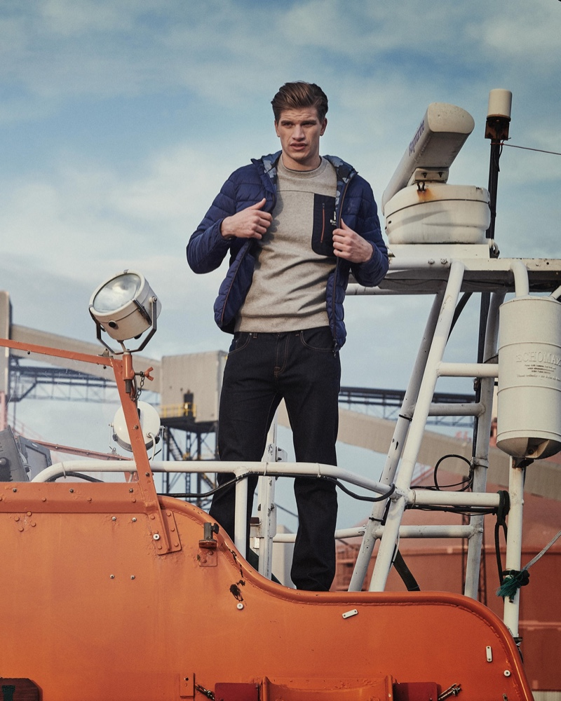 Taking to the sea, Toby Huntington-Whiteley sports fashions from Barbour's spring-summer 2020 collection.