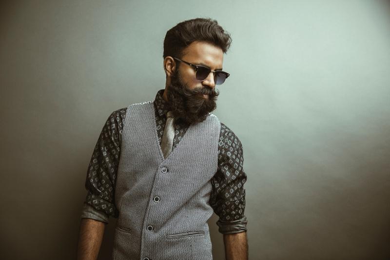 Bearded Man Vest Printed Button Down Shirt Sunglasses Tie