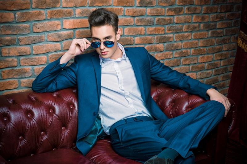 Blue Suit Sunglasses Attractive Man