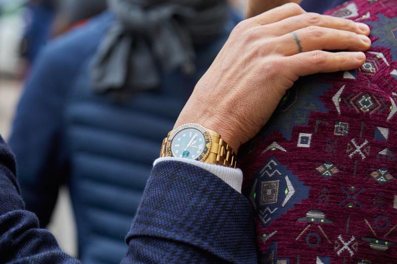 Closeup Man Wearing Gold Rolex Watch