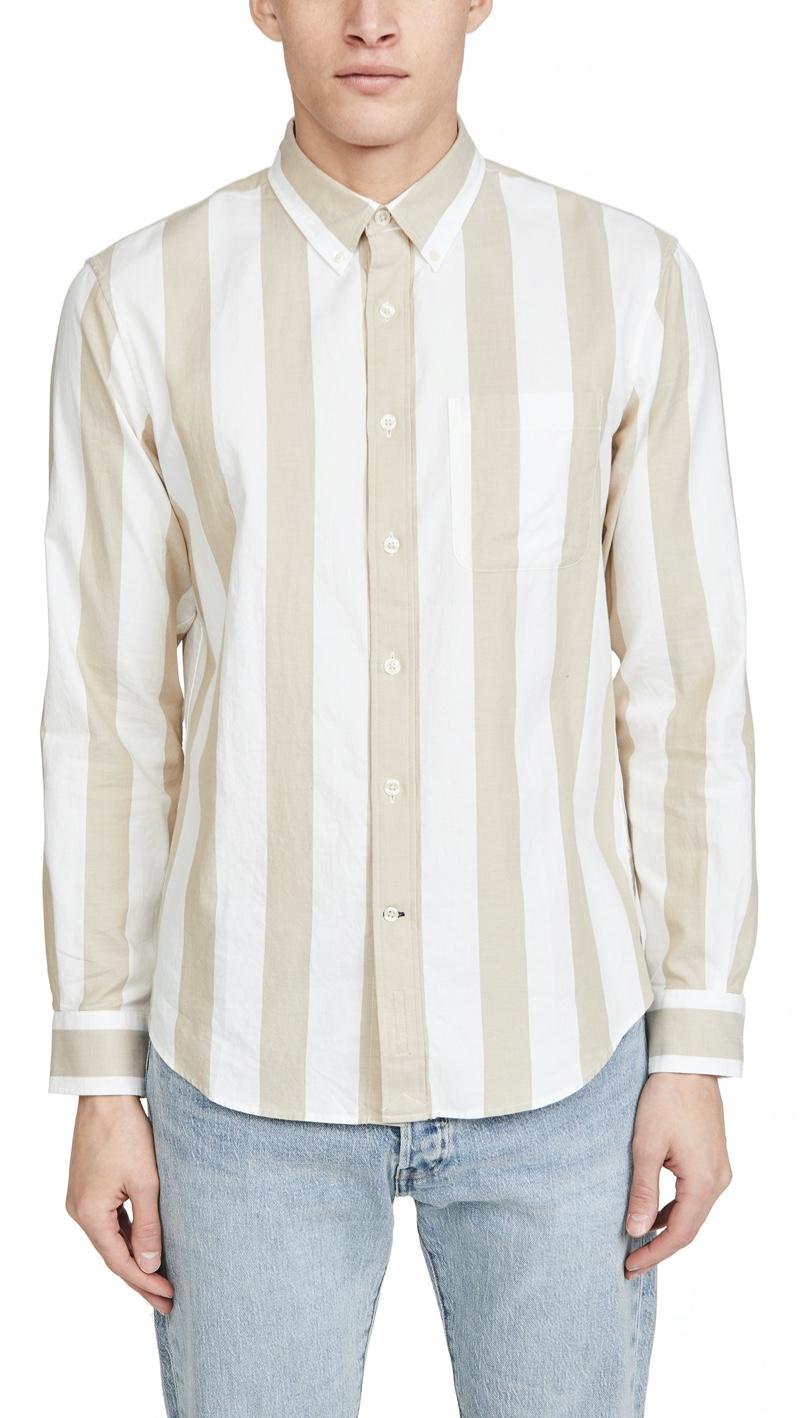 Club Monaco Long Sleeve Double Striped Shirt
