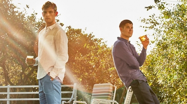 Models Elliott Reeder and William Goodge embraces a fresh season of style from Derek Rose.