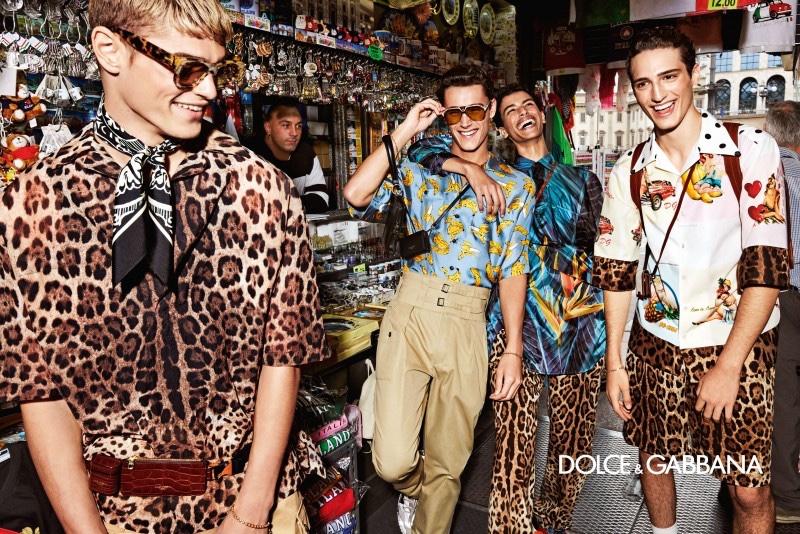 All smiles, Mattia Giovannoni, Carlos Gómez Galobart, Nazim Bouaziz, and Vittorio Botti star in Dolce & Gabbana's spring-summer 2020 campaign.