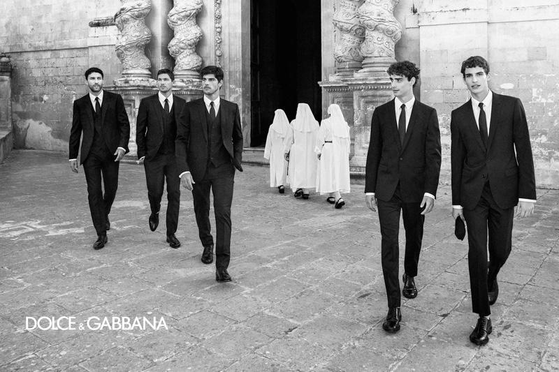 Models Noah Mills, Adam Senn, Evandro Soldati, Kane Roberts, and Amerigo Valenti front Dolce & Gabbana's spring-summer 2020 campaign.