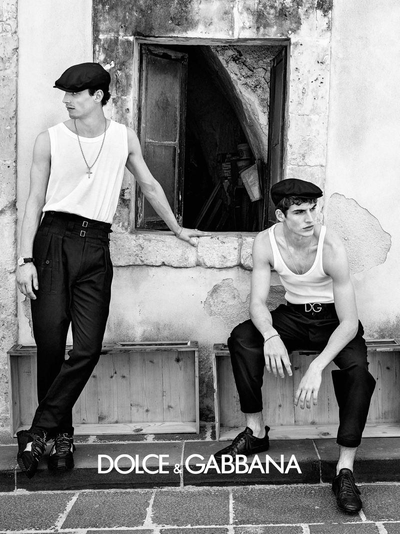 Taking to Sicily, models Kane Roberts and Amerigo Valenti appear in Dolce & Gabbana's spring-summer 2020 campaign.