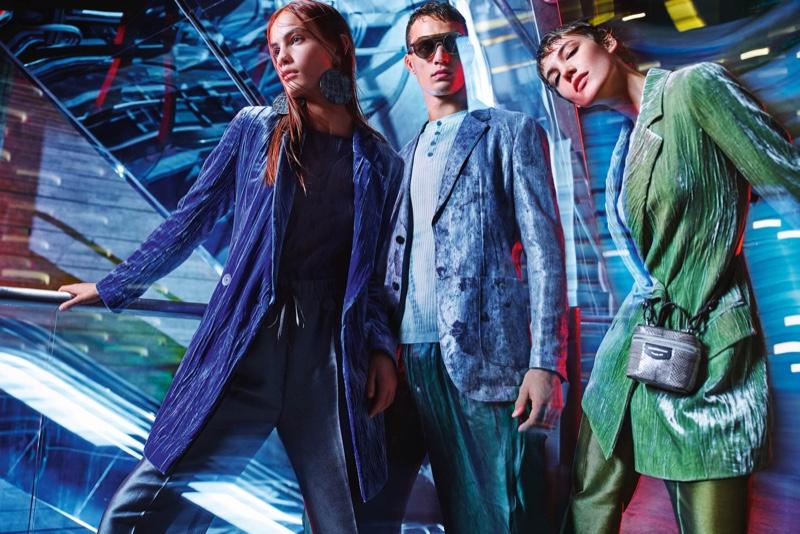 Nina Marker, Julian Schneyder, and Anya Lyagoshina star in Emporio Armani's spring-summer 2020 campaign.