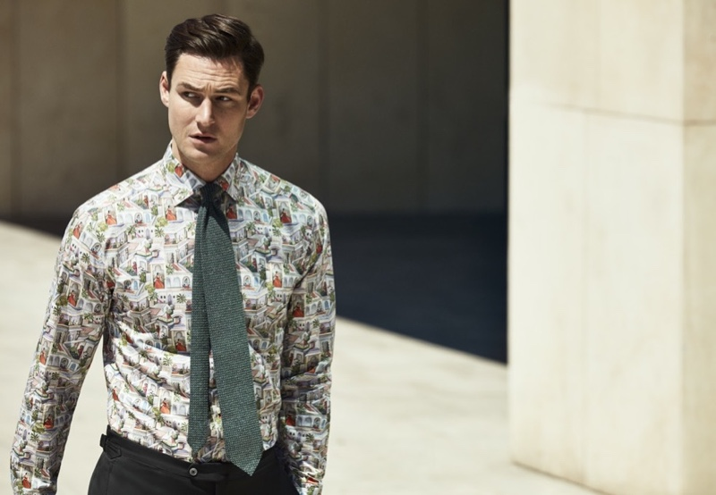 James Farrar sports a printed shirt from Eton's spring-summer 2020 collection.
