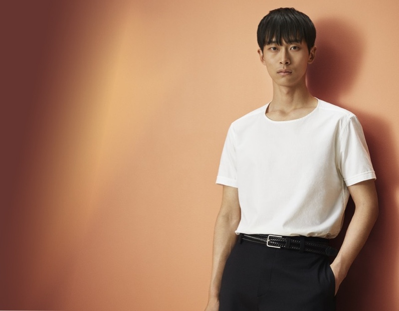 Min Shin dons a white cotton-silk t-shirt from Eton's spring-summer 2020 collection.