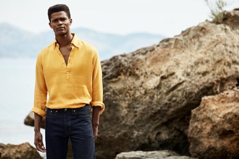 O'Shea Robertson sports a linen popover shirt from Eton's spring-summer 2020 collection.