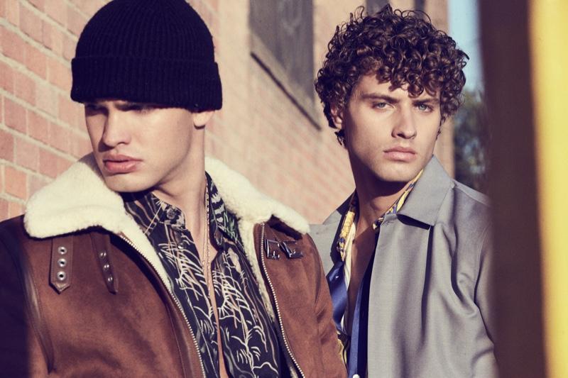 Left: Ben wears jacket H&M and shirt 3.1 Phillip Lim. Right: Dean wears shirt Versace and jacket Jil Sander.