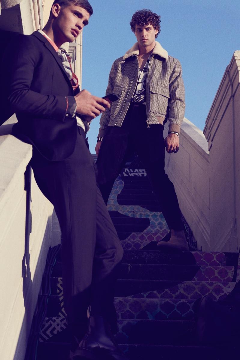 Left: Ben wears shirt Valentino and suit Jil Sander. Right: Dean wears shirt Dior Men, jacket Mr P., and pants 3.1 Phillip Lim.