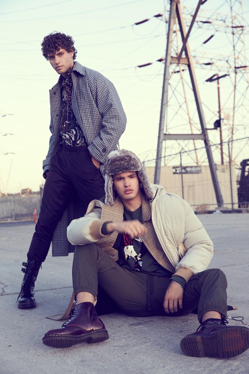 Left: Dean wears coat Acne Studios, boots Dr. Martens, shirt and pants 3.1 Phillip Lim. Right: Ben wears shirt 3.1 Phillip Lim, boots Dr. Martens, jacket, pants, and coat Ovadia & Sons.