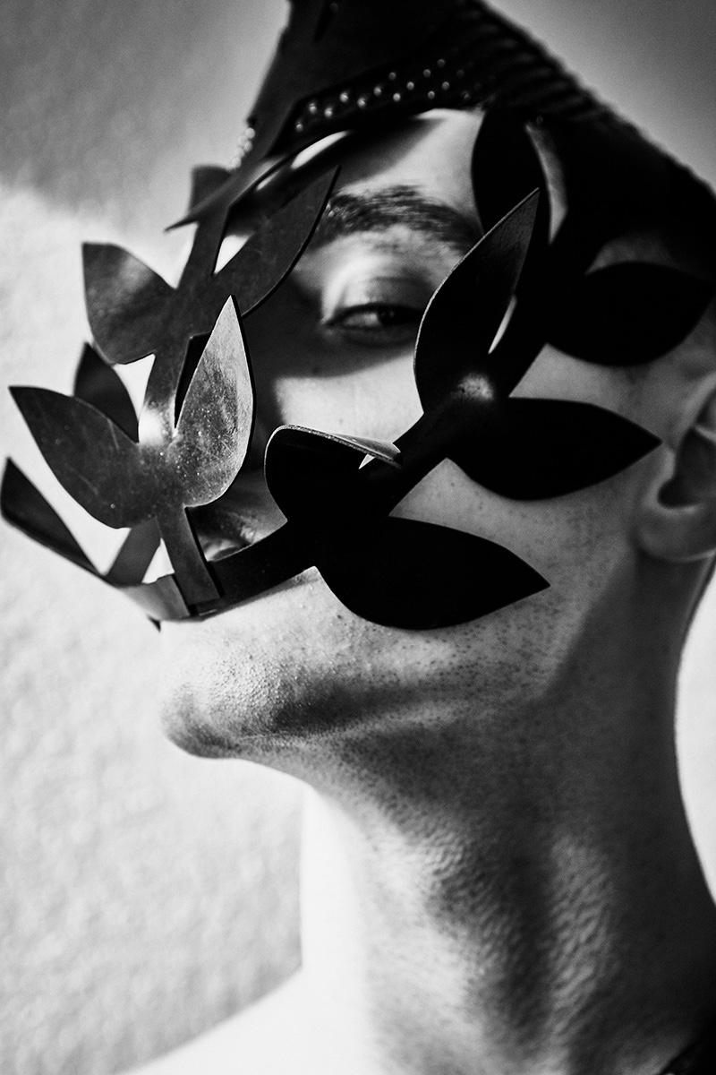 Matthew wears leather mask Teodora Mitrovska.