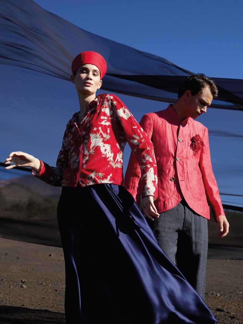 Models Katia Andre and Pepe Barroso front Giorgio Armani's spring-summer 2020 campaign.