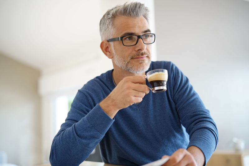 Grey Haired Man Small Cup Coffee Glasses