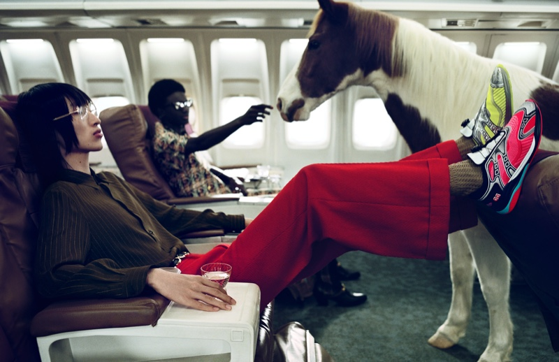 Hao Liu takes a stylish flight with Gucci for its spring-summer 2020 campaign.