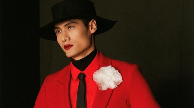 Hao Yun Xiang Rocks a Red Lip & Bold Style for GQ China