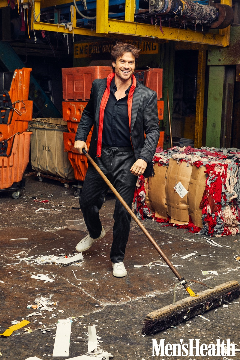 Ian Somerhalder dons a BOSS traceable wool jacket and trousers with a REI Co-op vest, Tact & Stone shirt, and Veja sneakers for Men's Health.