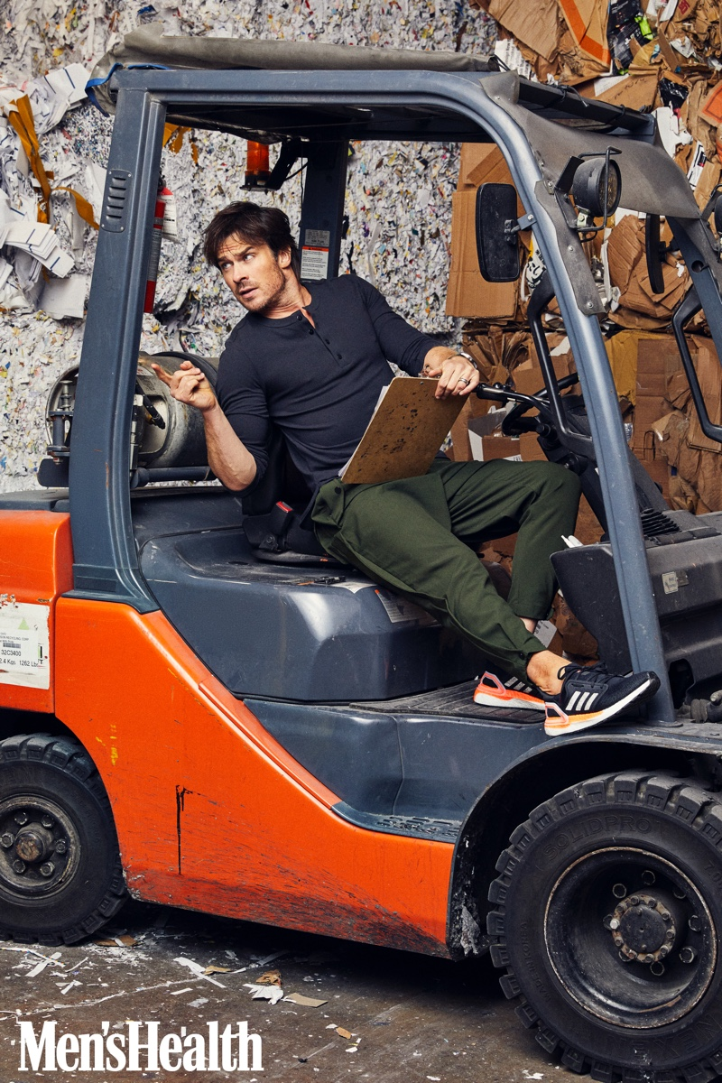 Actor Ian Somerhalder sports a Paskho tech travel henley and trousers with Adidas Originals sneakers, and a Citizen watch for Men's Health.