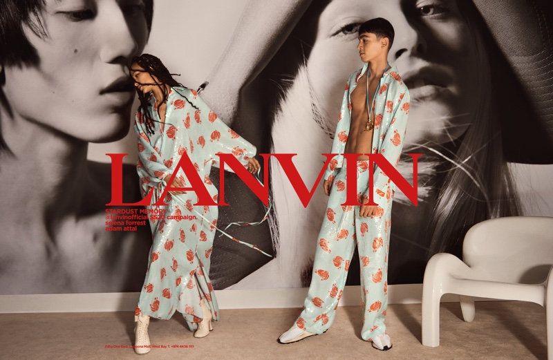 Selena Forrest and Adam Attal appear in Lanvin's spring-summer 2020 men's campaign.