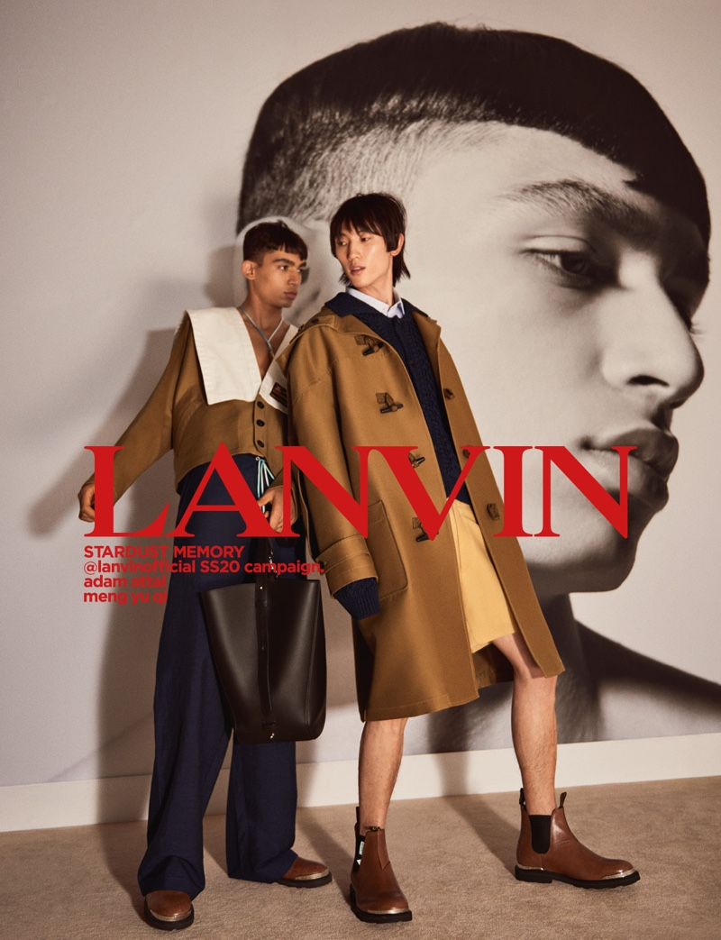 Models Adam Attal and Meng Yu Qi star in Lanvin's spring-summer 2020 men's campaign.