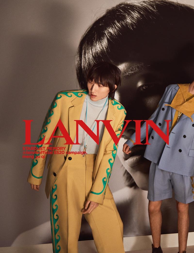 Meng Yu Qi fronts Lanvin's spring-summer 2020 men's campaign.