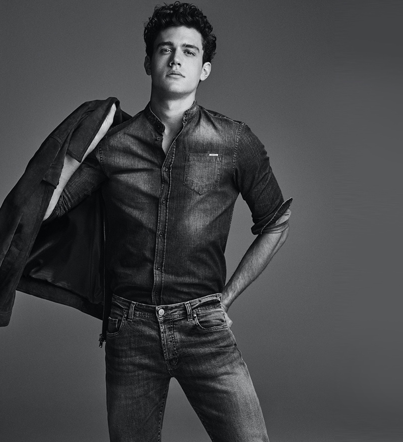 Xavier Serrano models a double denim look from Liu Jo Uomo.