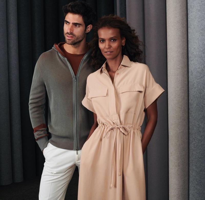 Juan Betancourt and Liya Kebede wear spring-summer 2020 looks from Loro Piana for Holt Renfrew.