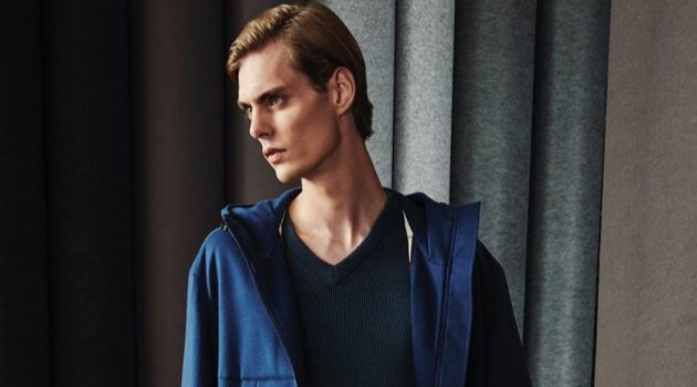 Mats Van Snippenberg embraces smart casual style in a spring look from Loro Piana.