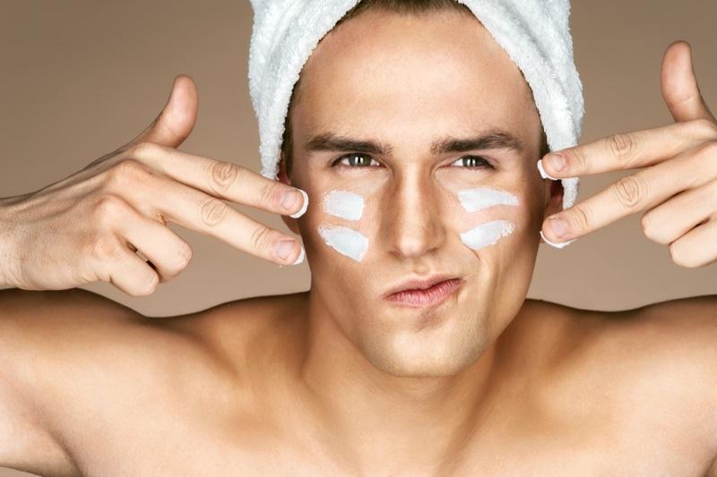 Male Model Closeup Moisturizing Face Skincare